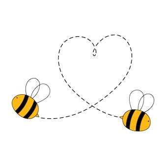 Illustration vectorielle de dessin animé abeille saint valentin