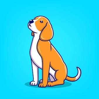 Illustration vectorielle de dessin animé chien mignon dessinés à la main