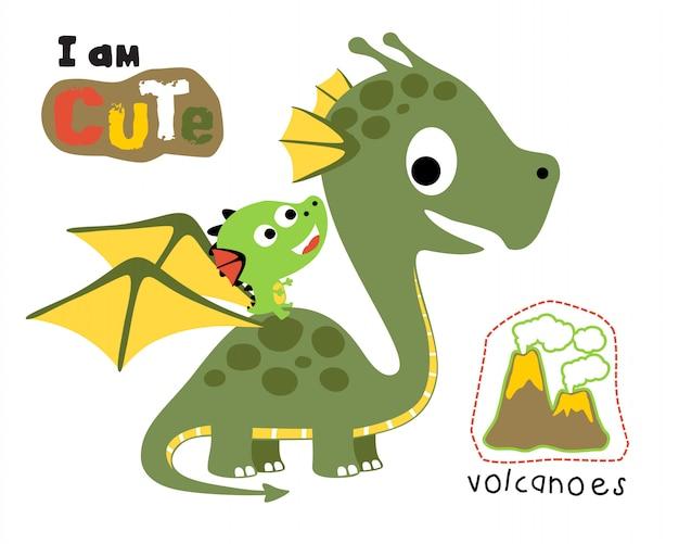 Illustration vectorielle de dessin animé dragon