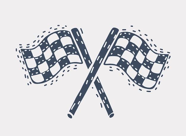 Illustration vectorielle de dessin animé du drapeau de course noir et blanc. objet dessiné à la main sur blanc.