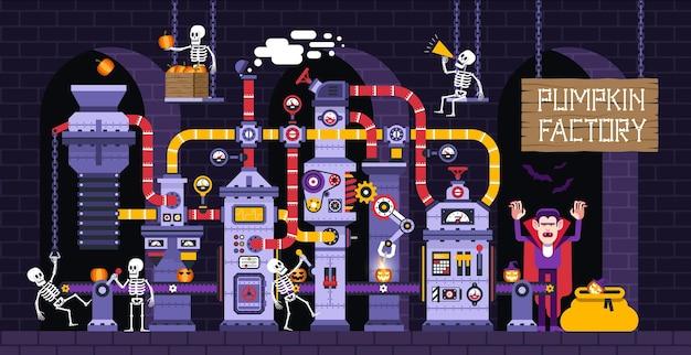 Illustration vectorielle de dessin animé halloween avec usine de production de citrouille