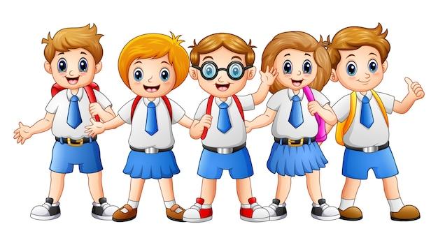 Illustration vectorielle de dessin animé happy school kids