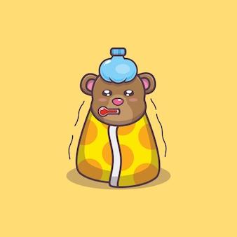 Illustration vectorielle de dessin animé malade ours mignon