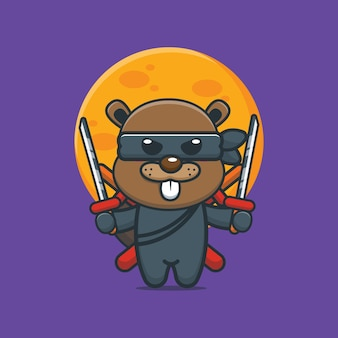Illustration vectorielle de dessin animé mignon castor ninja