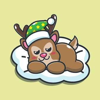 Illustration vectorielle de dessin animé mignon cerf sommeil