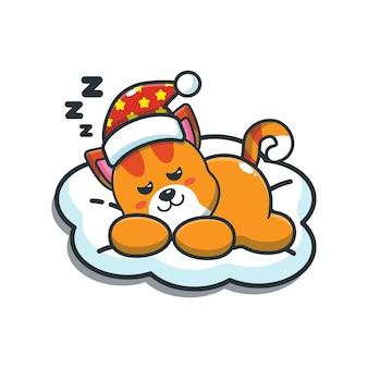 Illustration vectorielle de dessin animé mignon chat sommeil
