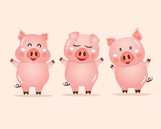 Illustration vectorielle de dessin animé mignon cochons