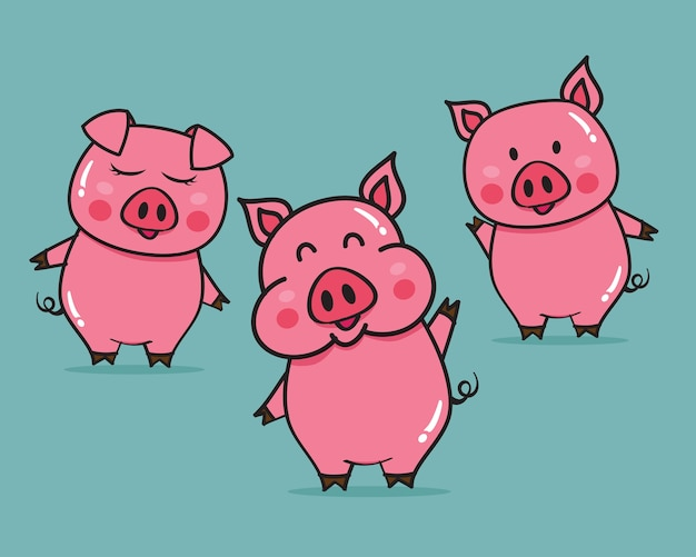 Illustration vectorielle de dessin animé mignon cochons