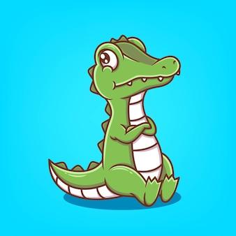 Illustration vectorielle de dessin animé mignon crocodile dessinés à la main