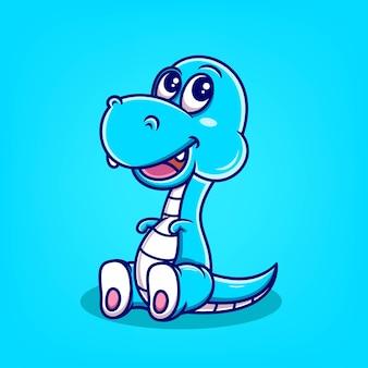 Illustration vectorielle de dessin animé mignon dinosaure bleu dessiné à la main