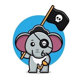 Illustration vectorielle de dessin animé mignon éléphant pirate