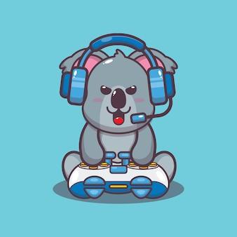 Illustration vectorielle de dessin animé mignon gamer koala