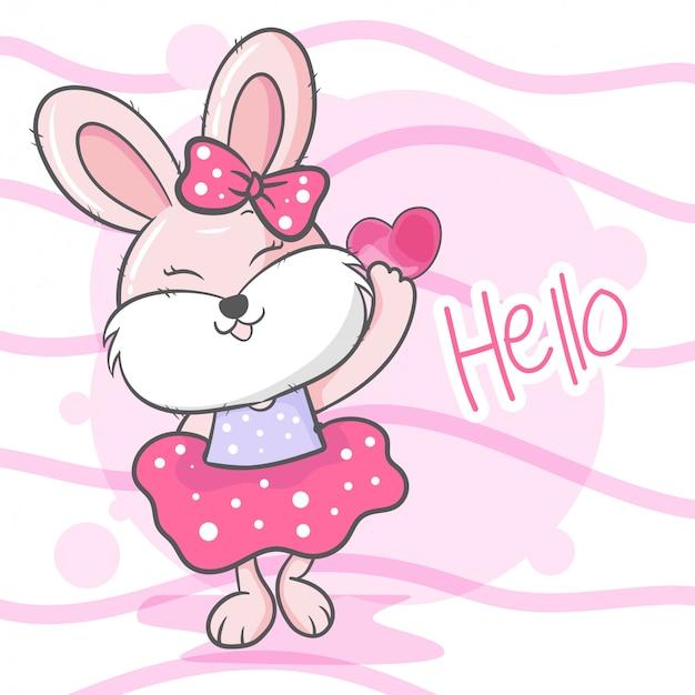 Illustration vectorielle de dessin animé mignon lapin fille