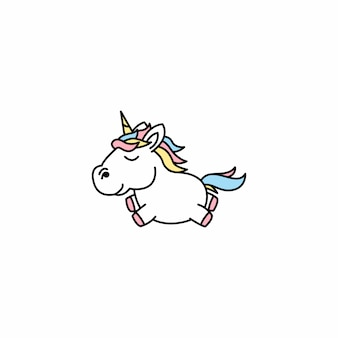 Illustration vectorielle de dessin animé mignon licorne