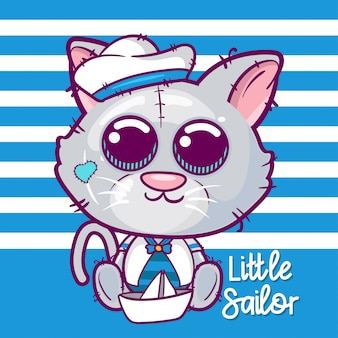 Illustration vectorielle de dessin animé mignon marin chaton