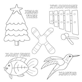 Illustration vectorielle de dessin animé noir et blanc de l'alphabet lettre x pour les enfants - livre de coloriage