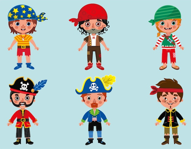 Illustration vectorielle de dessin animé pirate garçons