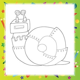 Illustration vectorielle de dessin animé de robot escargot - livre de coloriage