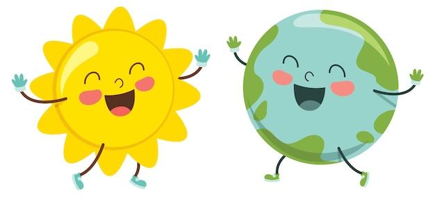Illustration vectorielle de dessin animé soleil et le monde
