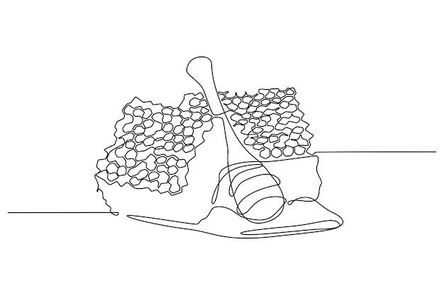 Illustration vectorielle de dessin au trait continu en nid dabeille