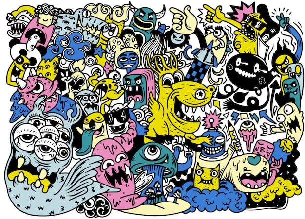 Illustration vectorielle de dessin de griffonnage à la main monstre mignon doodle