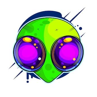 Illustration vectorielle dessinée à la main extraterrestre. martien montrant le signe de la paix en gros plan. concept d'invasion extraterrestre.