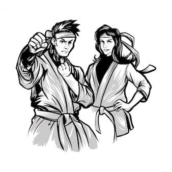 Illustration vectorielle dessinée à la main jeune garçon et fille
