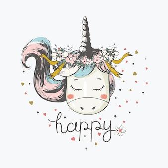 Illustration vectorielle dessinée à la main de licorne romantique mignonne avec couronne de fleurs peut être utilisée