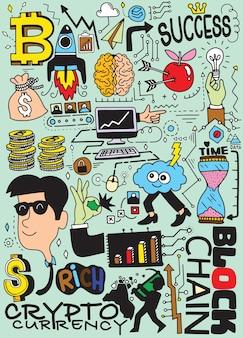 Illustration vectorielle dessinés à la main de cryptomonnaie de doodle
