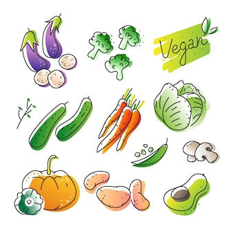 Illustration vectorielle dessinés à la main de divers légumes