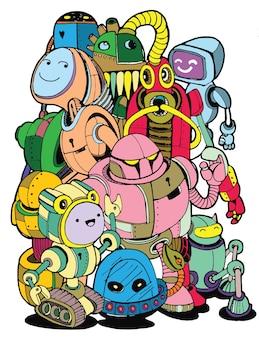 Illustration vectorielle dessinés à la main de l'élément de robot doodle