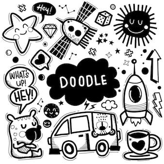 Illustration vectorielle dessinés à la main de l'ensemble doodle, dessin d'outils de ligne illustrator, design plat