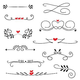 Illustration vectorielle dessinés à la main ligne frontière mariage art dessiné à la main