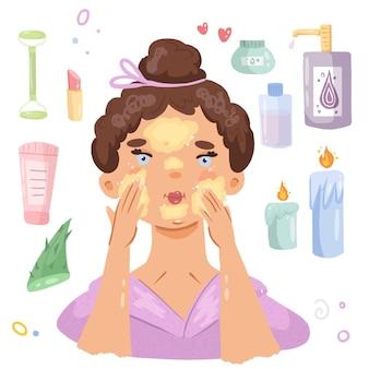 Illustration vectorielle dessinés à la main routine de la peau du matin ou du soir spa à domicile