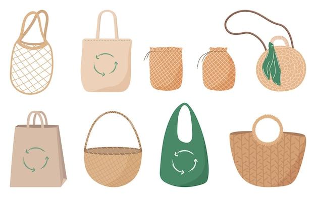 Illustration vectorielle dessinés à la main de sacs écologiques