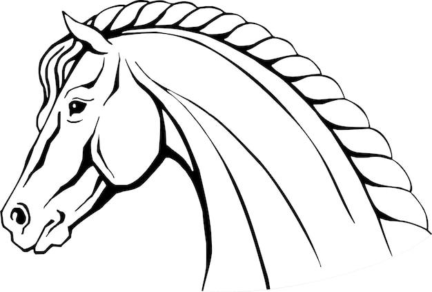 Illustration vectorielle dessinés à la main de tête de cheval isolé sur blanc