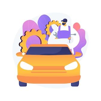 Illustration vectorielle de détail automatique concept abstrait. atelier de réparation automobile, service d'entretien automobile, détaillant de véhicules, service complet de détail, spa automobile, correction de peinture, métaphore abstraite de vernis à la cire.