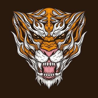 Illustration vectorielle détaillée de monstre tigre