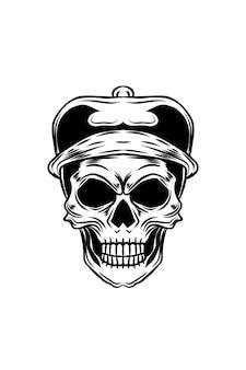 Illustration vectorielle de détective crâne