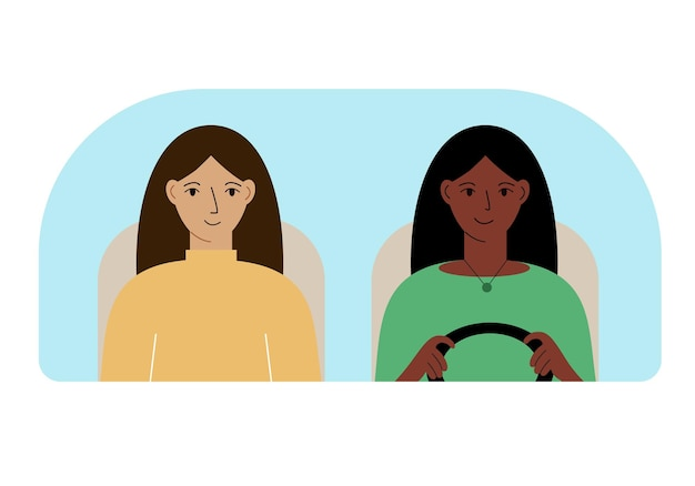 Illustration vectorielle de deux femmes dans la voiture derrière le pare-brise.