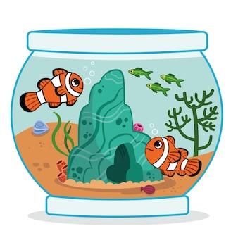 Illustration vectorielle de deux poissons-clowns dans un aquarium