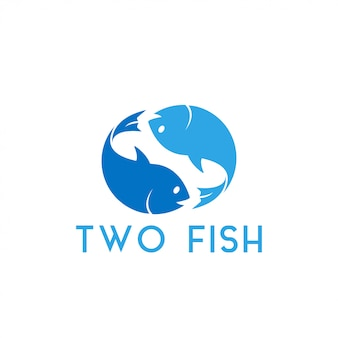 Illustration vectorielle de deux poissons design graphique modèle