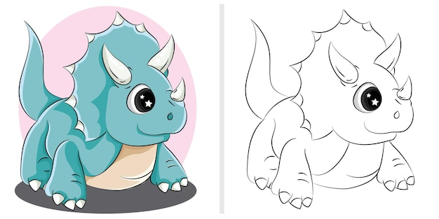 Illustration vectorielle de dinosaure de dessin animé. illustration de livre de coloriage pour les enfants.