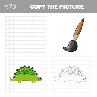 Illustration vectorielle de dinosaure de dessin animé - livre de coloriage et puzzle pour les enfants