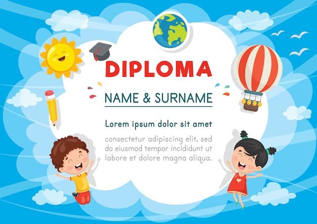 Illustration vectorielle de diplôme d'enfants d'âge préscolaire