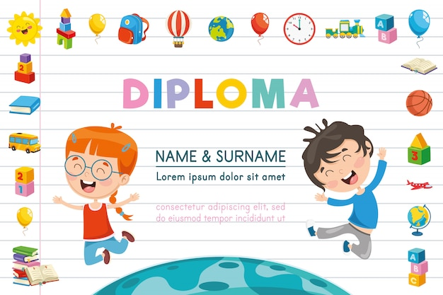 Illustration vectorielle de diplôme d'enfants
