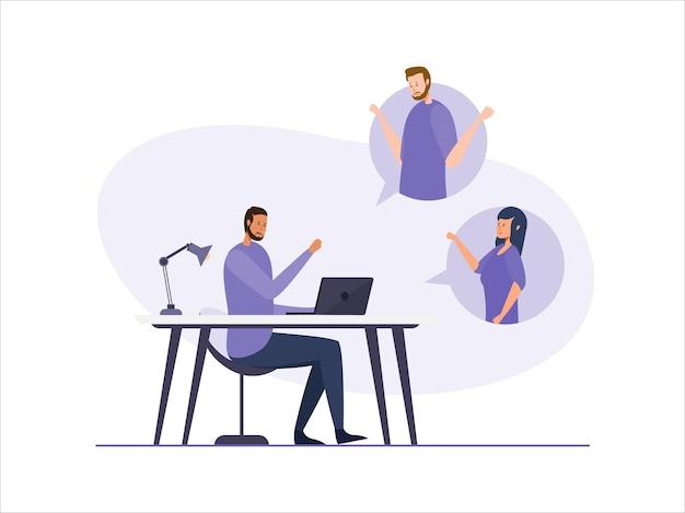 Illustration vectorielle de discussion vidéo en ligne