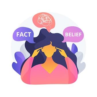 Illustration vectorielle de dissonance cognitive concept abstrait. inconfort mental, conflit, manquement, abus psychologique, état émotionnel, prise de décision, expérience de la métaphore abstraite.
