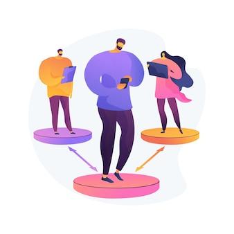 Illustration vectorielle de distance sociale concept abstrait. impact de l'épidémie mondiale de coronavirus, auto-isolement, mise en quarantaine forcée, interdiction de communication, restez à la maison, faites votre part métaphore abstraite.