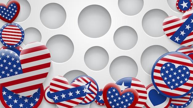 Illustration vectorielle de divers symboles des états-unis dans les couleurs rouge et bleu sur fond blanc avec des trous. jour de l'indépendance des états-unis d'amérique